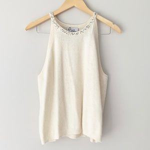 Lilly Pulitzer Ivory Lambswool Beaded Tank